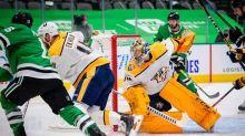 NHL roundup: Stars finally start season, wallop Predators