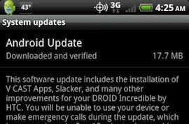 Droid Incredible update starts rolling out, packs fixes and V CAST Apps