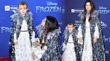 Selena Gomez and six-year-old sister wearing matching outfits at 'Frozen 2' premiere