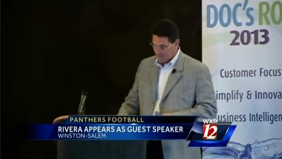 Panthers coach makes stop in Triad