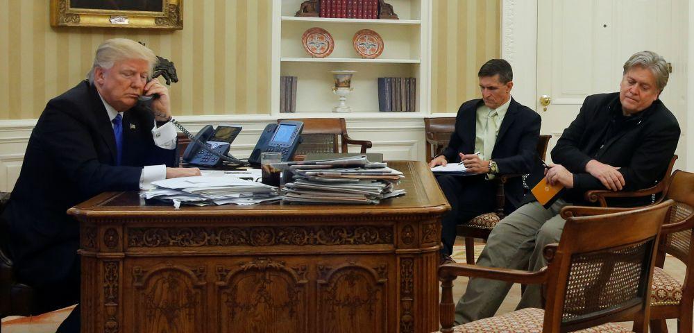 President Trump, Michael Flynn, Steve Bannon
