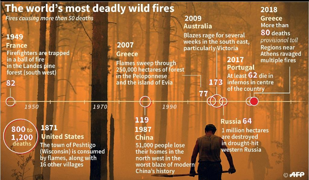 A chronology of the deadliest forest fires (AFP Photo/Alain BOMMENEL)