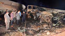 Fiery bus crash kills at least 21 passengers