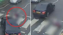 Shocking moment BMW knocks down woman at crossing in hit-and-run