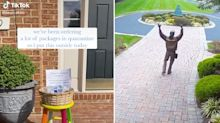 Man's response to unexpected surprise while delivering package