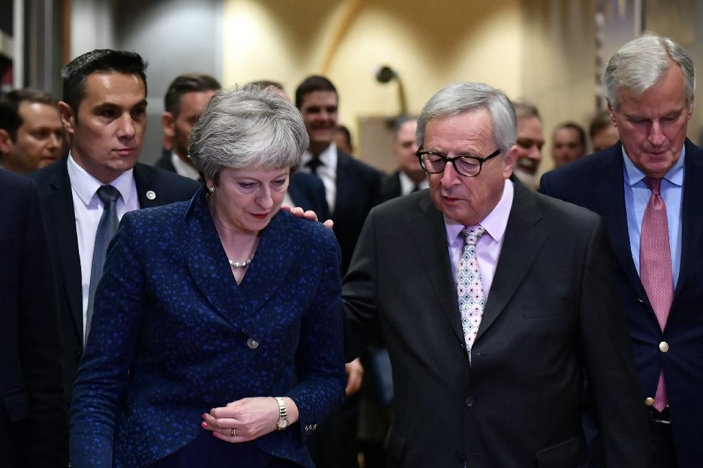 Theresa May met European Commission President Jean-Claude Juncker on the eve of a summit to approve a historic Brexit deal (AFP Photo/Philippe LOPEZ)