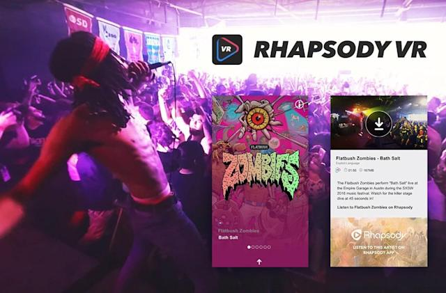 Rhapsody's VR app is a hub for live music videos