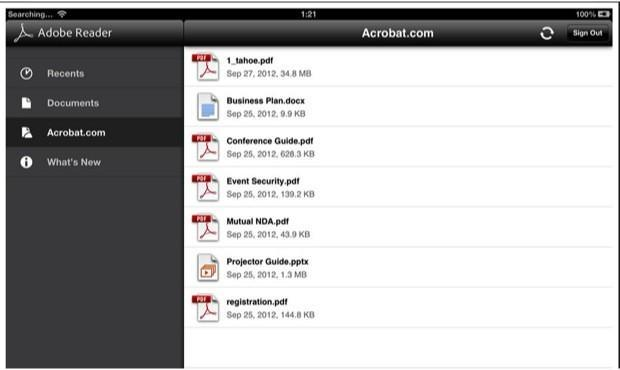 Adobe Reader for iOS and Android updated with cloud storage support