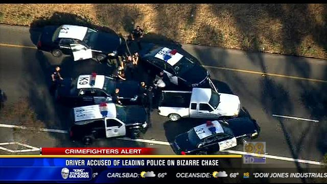 Driver accused of leading police on bizarre chase