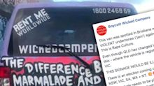 'This is rape culture': Outrage over 'revolting' message painted on campervan