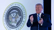 '45 is a puppet': Can you spot the mistakes in the fake presidential seal behind Trump?