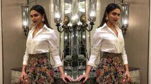 PHOTO: Deepika Padukone embodies elegance in a pristine white shirt and vibrant printed skirt