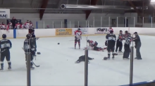 Referee gets decked by trainer after throwing punches at players