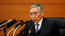 BOJ's Kuroda blames yen's fall on strong dollar, upbeat on economy