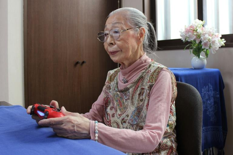 Hamako Mori, 90, known as 'Gamer Grandma', spends hours a day battling monsters and going on missions in the virtual worlds of her favourite games (AFP Photo/Handout)