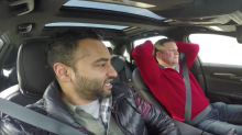 2 Dudes marvel at the self-driving Cadillac