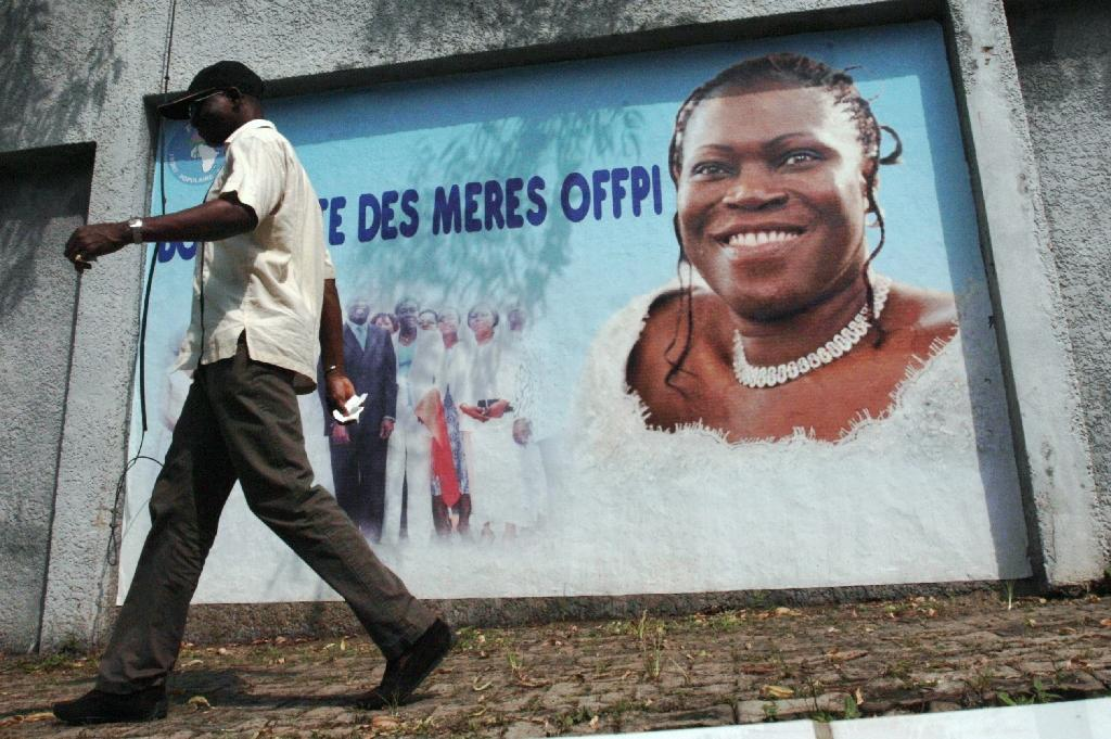 A poster of former first lady Simone Gbagbo is shown in Abidjan on December 4, 2013 (AFP Photo/Herve Sevi)