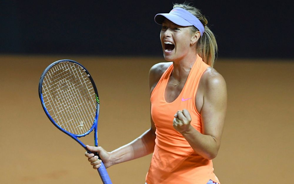 Maria Sharapova celebrates beating fellow Russian Ekaterina Makarova on Thursday - dpa