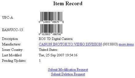 Canon's EOS 7D gets its very own UPC?