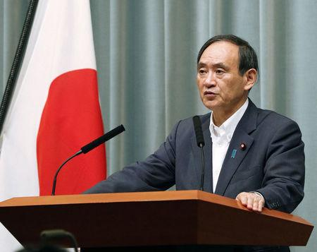 Japan's Chief Cabinet Secretary Yoshihide Suga speaks at a news conference about North Korea's missile launch in Tokyo, Japan in this photo taken by Kyodo on September 15, 2017. Mandatory credit Kyodo/via REUTERS