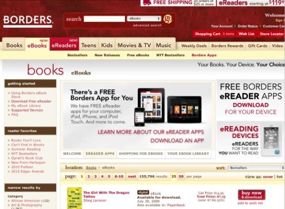 Borders' Kobo-powered eBook Store now live with 1.5 million titles, Android and BlackBerry apps (update)