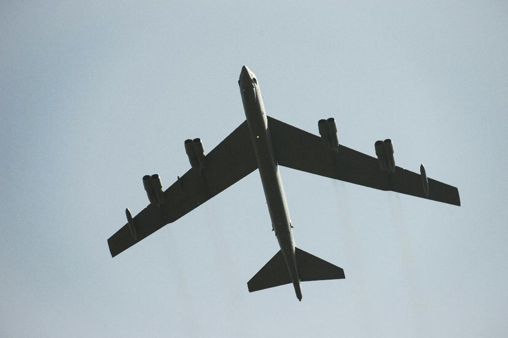 A B-52 bomber during a 2016 fly-by in France
