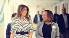 Melania Trump resurfaces in a striped $1,280 dress from designer who staged Planned Parenthood runway show