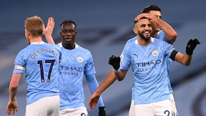 Manchester City rolls behind Mahrez hat trick