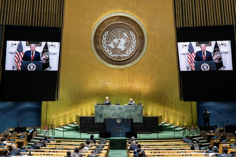 US President Donald Trump's presentation is projected on the screens in the UN General Assembly on September 22, 2020