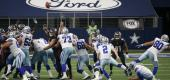 Dallas Cowboys kicker Greg Zuerlein kicks a field goal in the closing seconds. (AP)