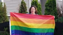Langley woman distributes free Pride flags after 3rd theft of hers from lawn