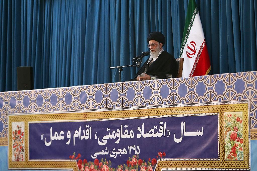Supreme Leader Ayatollah Ali Khamenei gives a speech during the celebrations of Noruz, the Persian New Year, in the northeast holy city of Mashhad on March 20, 2016 (AFP Photo/)