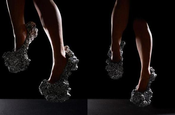 Heels made from aluminum foam, designed by the cosmos