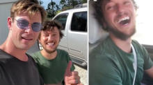 Chris Hemsworth surprises hitchhiker with a helicopter ride