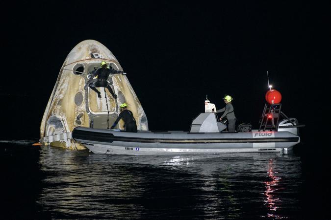 NASA SpaceX Crew-1 mission splashdown