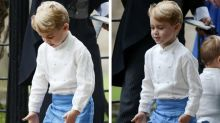 Prince George steals the show at another wedding as he leads pageboys in game of soldiers