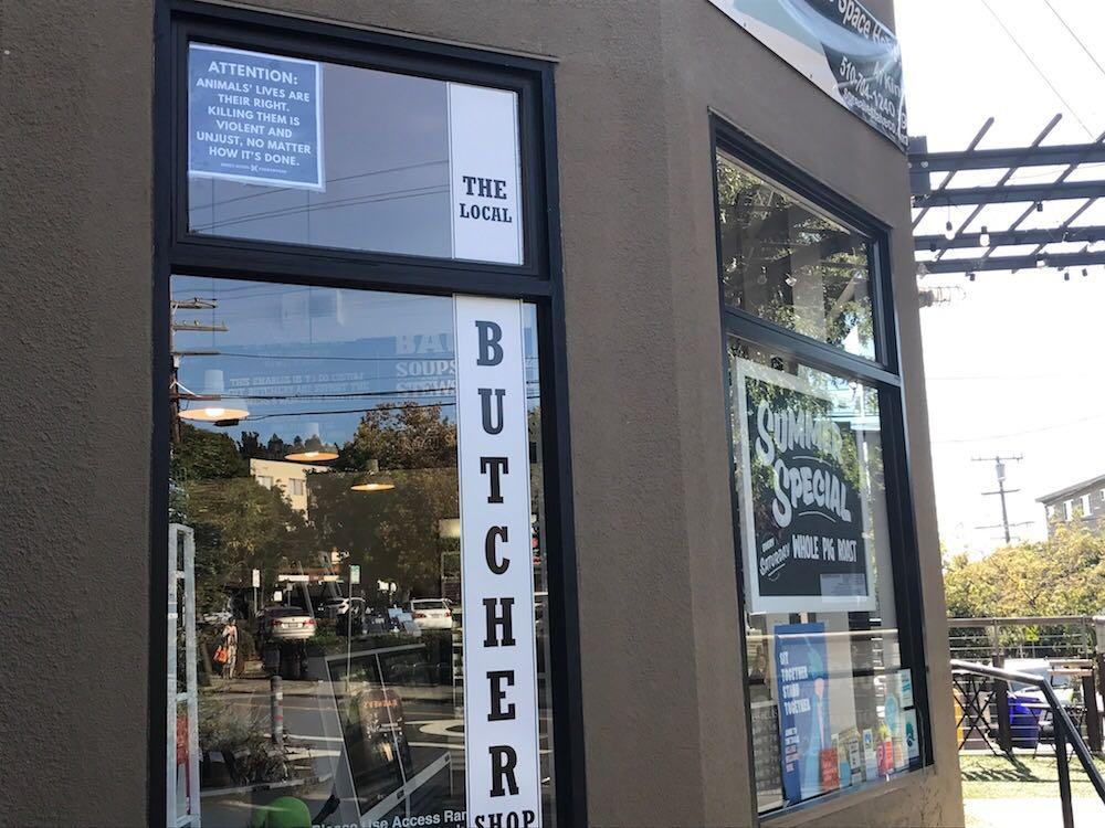 """The Local Butcher Shop"" in Berkeley, California, shown in this handout photo from Direct Action Everywhere, was besieged by anti-meat demonstrators for months"