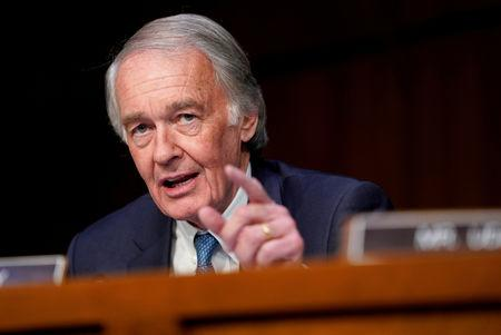 FILE PHOTO: Senator Edward Markey questions government transportation officials on aviation safety, during a hearing by the Senate Commerce subcommittee on Transportation and Safety on Capitol Hill in Washington