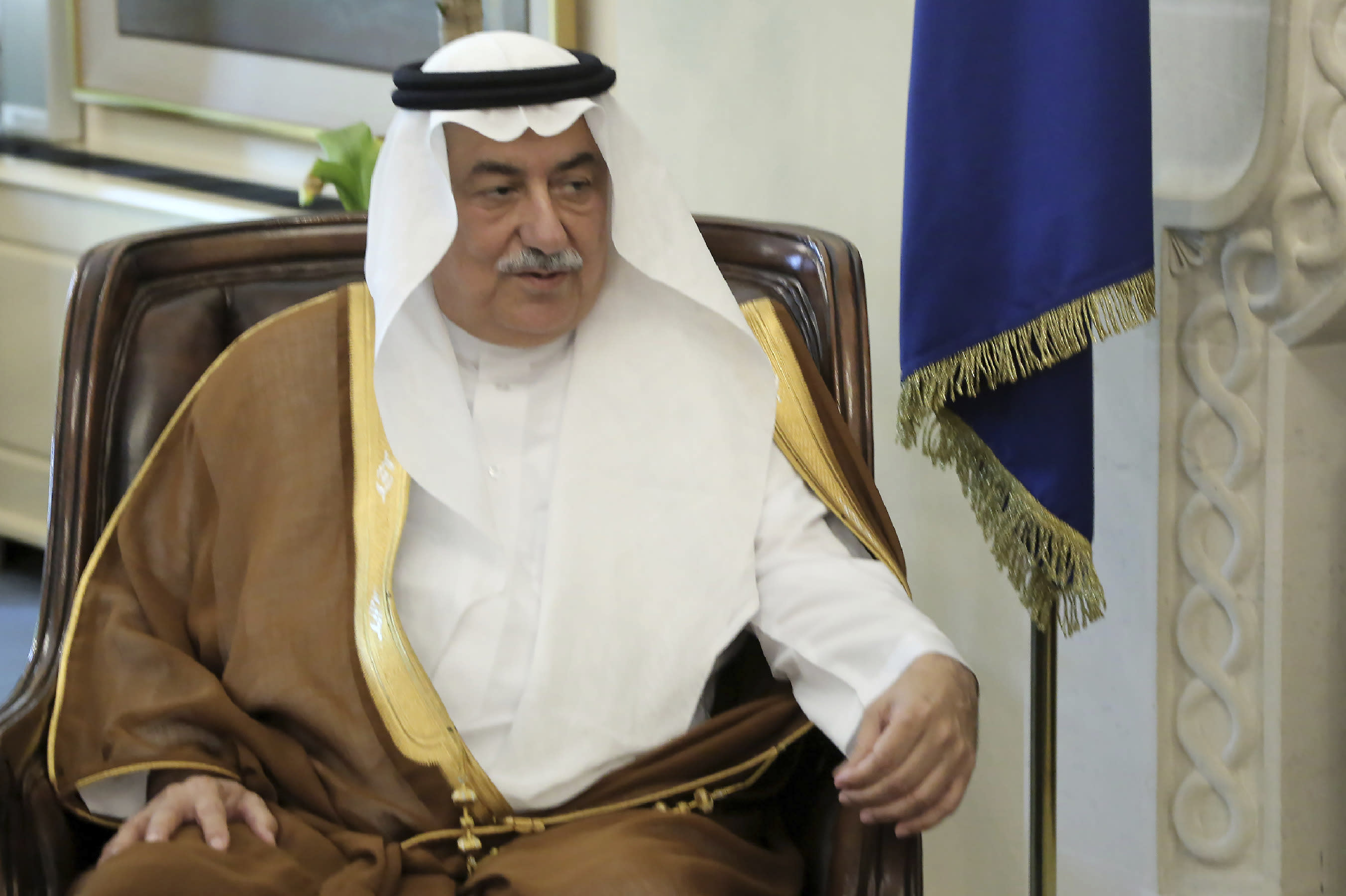 Saudi Foreign Minister Ibrahim Bin Abdulaziz Al-Assaf talks with Cyprus' president Nicos Anastasiades during their meeting at the presidential palace in capital Nicosia, Cyprus, Wednesday Sept. 11, 2019. (AP Photo/Petros Karadjias)