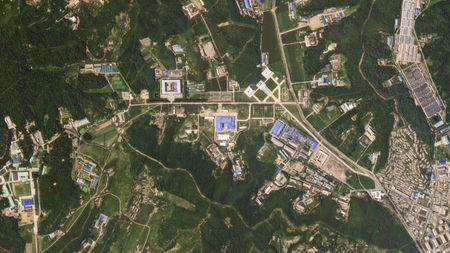 A satellite image shows the Sanumdong missile production site in North Korea
