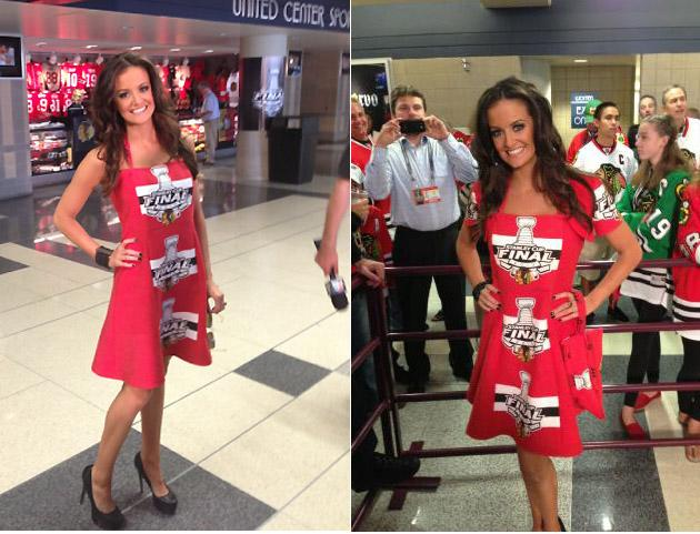 Illinois Beauty Queen Dons Chicago Blackhawks Rally Towel