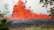 Hawaii's Kilauea volcano claimed its first injury after a man was 'lava-bombed' while sitting on his porch