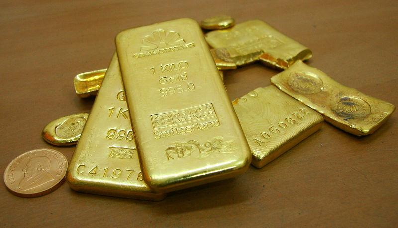 FILE PHOTO: Gold bars are displayed at a gold jewellery shop in Chandigarh