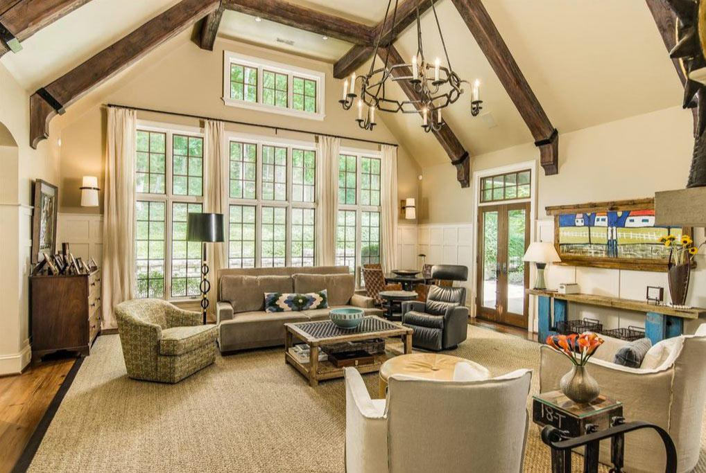 <p>A soaring great room and in-home movie theatre are perfect for the couple's three children, Camden, 4, Jaxon, 3, and Saylor, 1.</p>