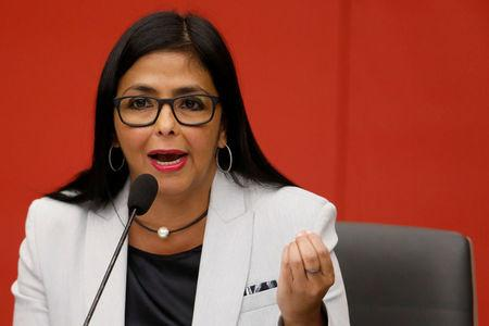 FILE PHOTO: Venezuela's Vice President Delcy Rodriguez talks to the media during a news conference at Miraflores Palace in Caracas