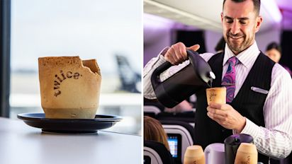 Airline trialling edible coffee cups on flights