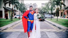 Singaporean wears Superman costume on his wedding day