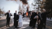 Bride didn't let wedding party bus catching fire ruin her big day