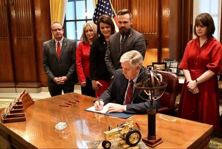 FILE PHOTO - Missouri Governor Mike Parson signs Bill 126 into law in Jefferson City