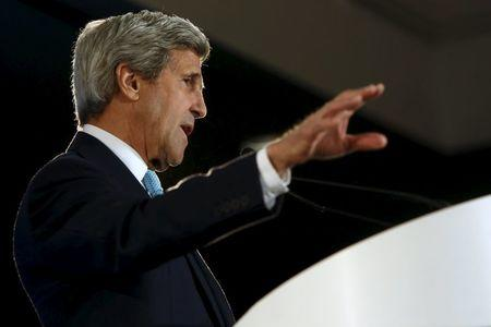 Kerry delivers remarks on trade at an event with the Pacific Council on International Policy in Los Angeles